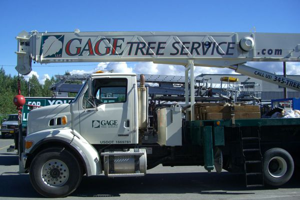 Vinyl Graphics on Gage Tree Crane Truck